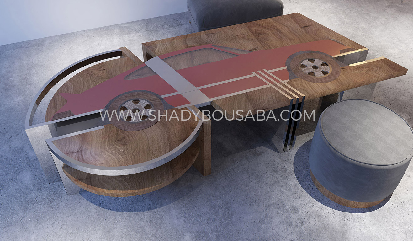 porsche-table---Red-Resin